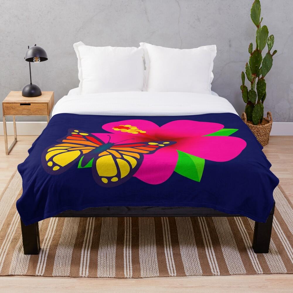 Butterfly on Pink Hibiscus Flower Joypixels Emoji Throw Blanket