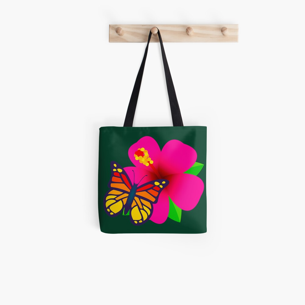 Butterfly on Pink Hibiscus Flower Joypixels Emoji Tote Bag