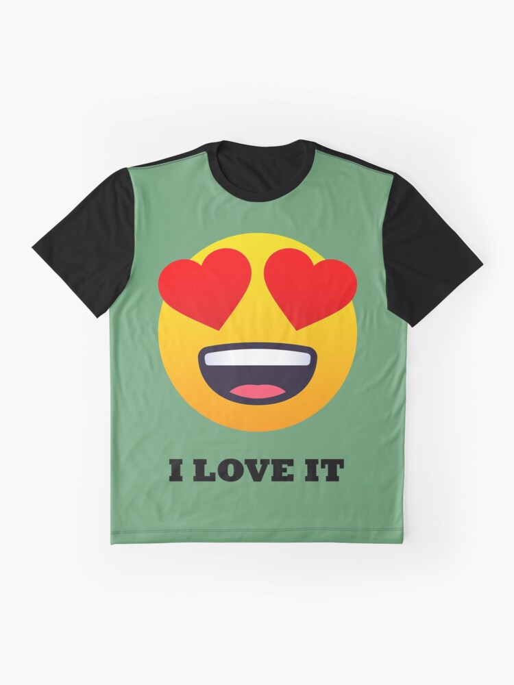 Alternate view of I Love It Smiley Face with Heart Eyes Joypixels Emoji Graphic T-Shirt