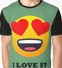 I Love It Smiley Face with Heart Eyes Joypixels Emoji Graphic T-Shirt