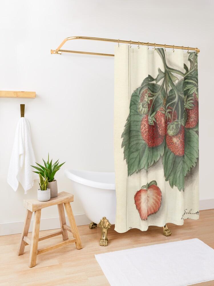 Alternate view of Vintage Strawberries Shower Curtain