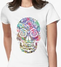 Sugar Skull Watercolor Womens Fitted T-Shirt