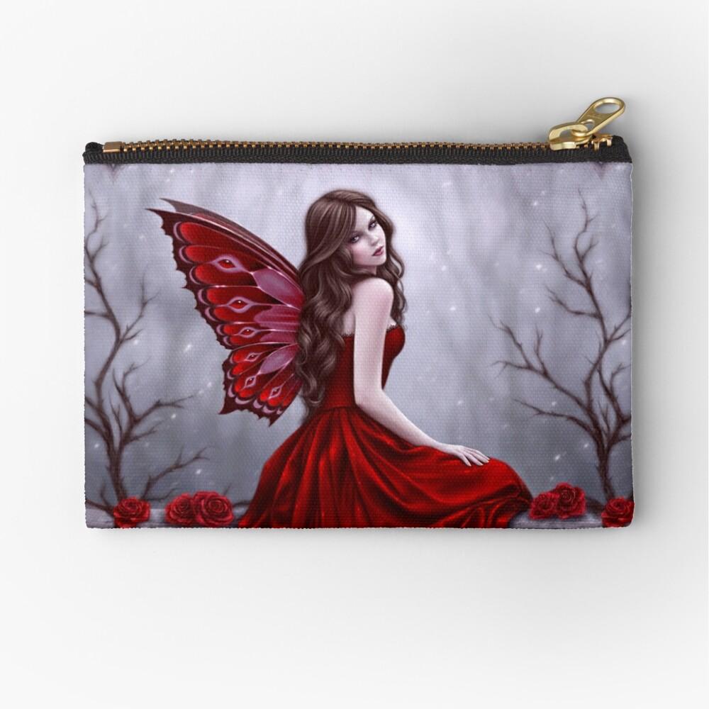 Winter Rose Butterfly Fairy Zipper Pouch