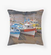 Bridlington harbour Throw Pillow