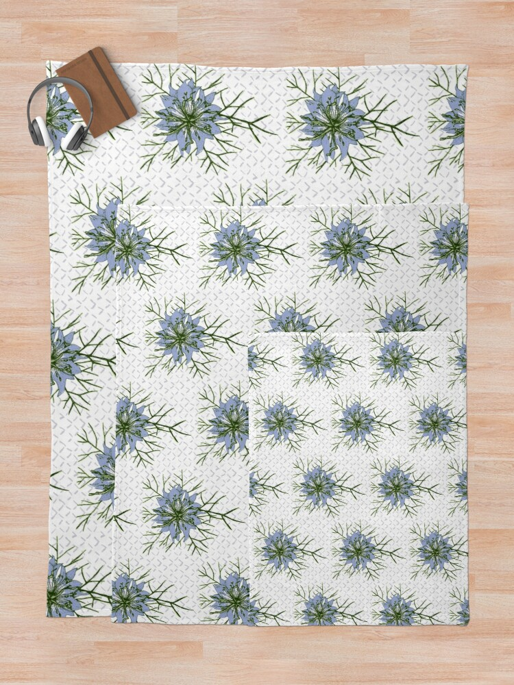 Alternate view of Love in a Mist The Romantic Nigella damascena flower repeat pattern light blue Throw Blanket