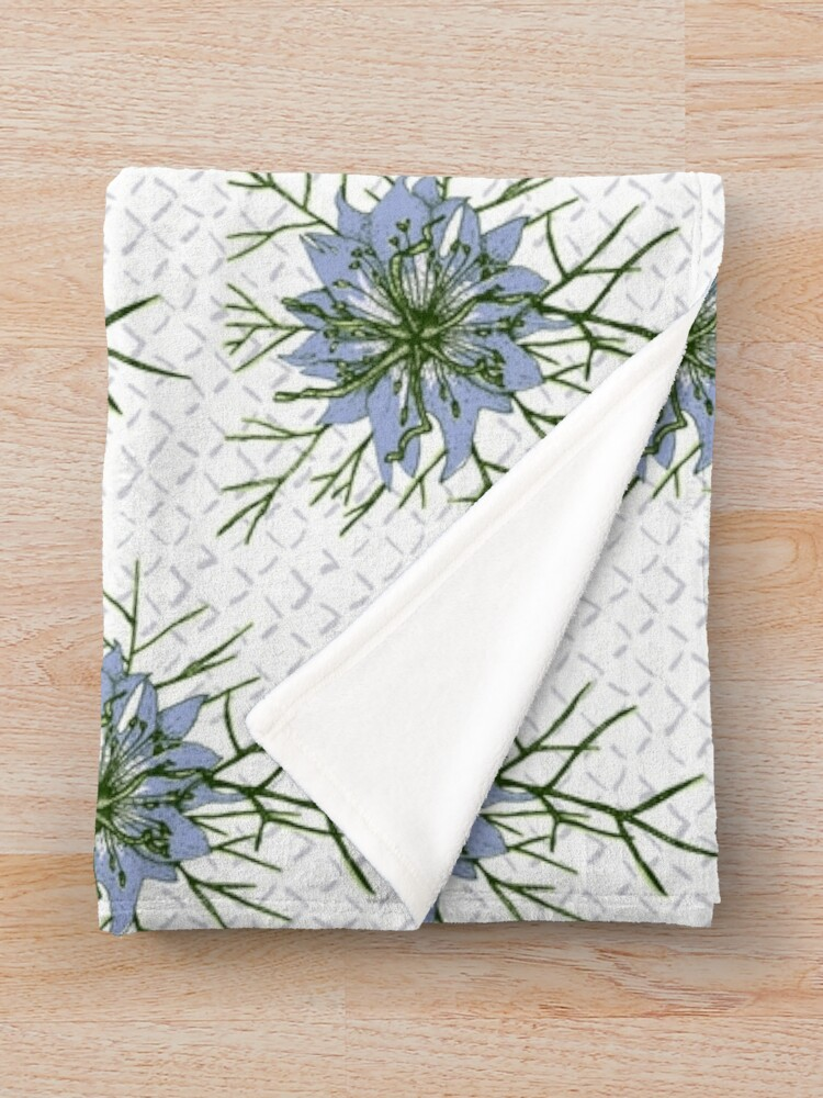 Alternate view of Love in a Mist The Romantic Nigella damascena flower repeat pattern light blue Throw Blanket