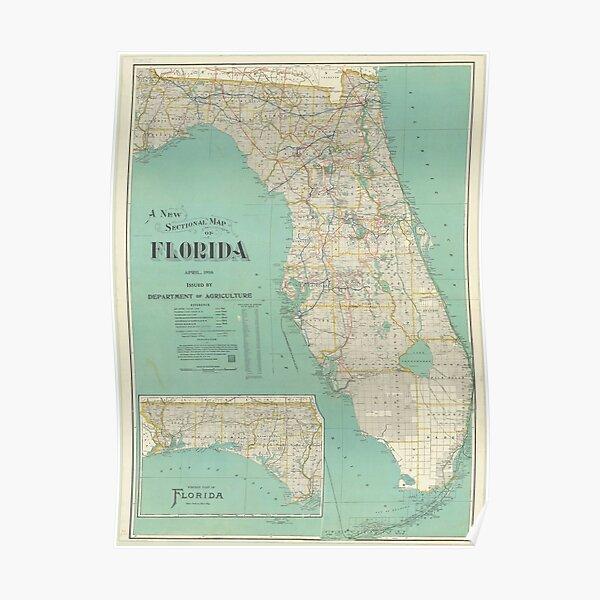 Vintage Florida Map (1916) Poster