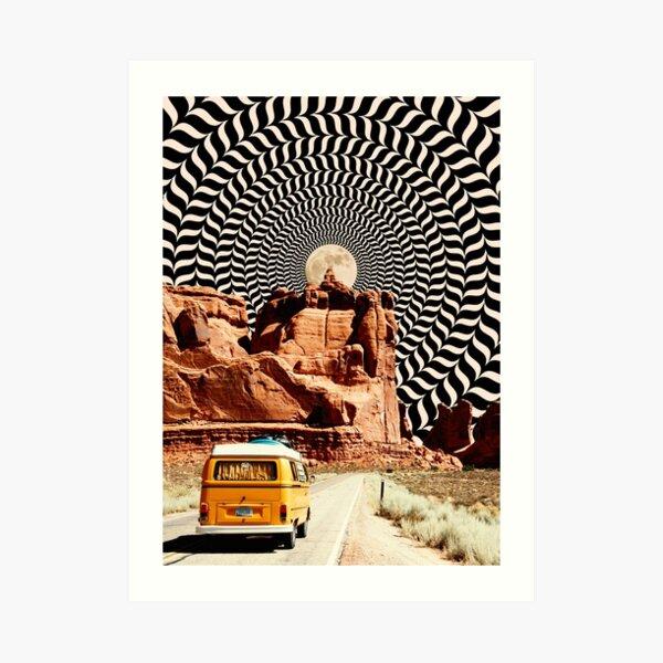 Illusionärer Road Trip Kunstdruck