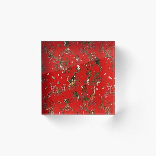 Monkey World Red Acrylic Block