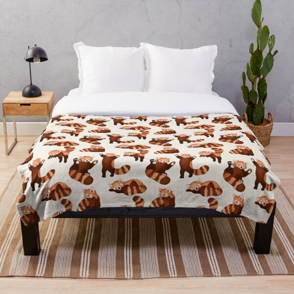 Red Panda Pattern Throw Blanket