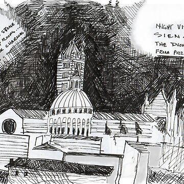 Italy- Siena's Duomo, a night sketch by JamesLHamilton