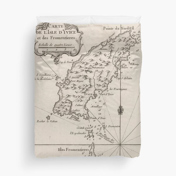 Vintage Ibiza Spain Map (1764) Duvet Cover