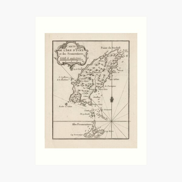Mapa de Ibiza España Vintage (1764) Lámina artística