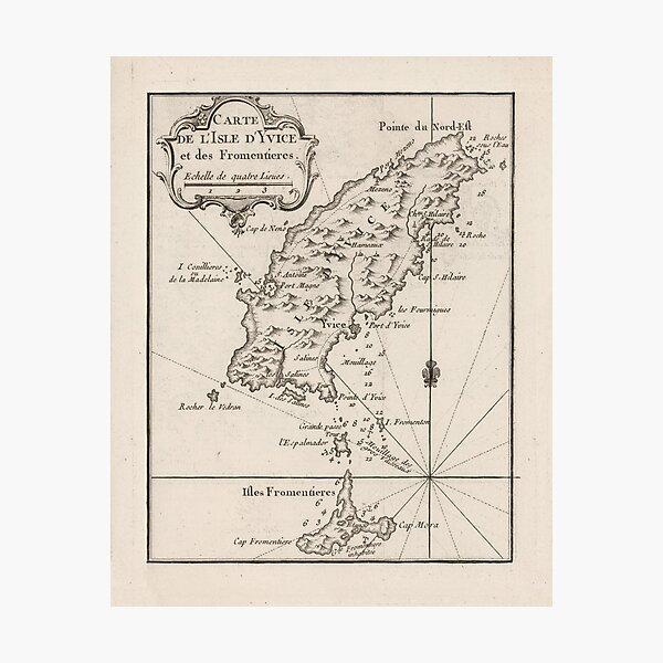 Vintage Ibiza Spanien Karte (1764) Fotodruck