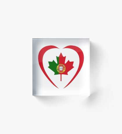 Portuguese Canadian Multinational Patriot Flag Series (Heart) Acrylic Block