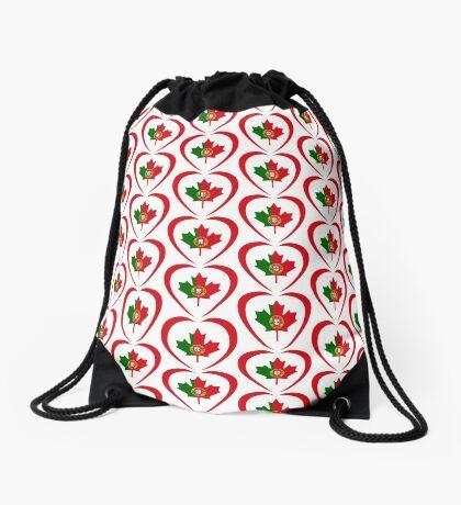 Portuguese Canadian Multinational Patriot Flag Series (Heart) Drawstring Bag
