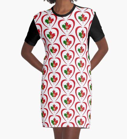 Portuguese Canadian Multinational Patriot Flag Series (Heart) Graphic T-Shirt Dress