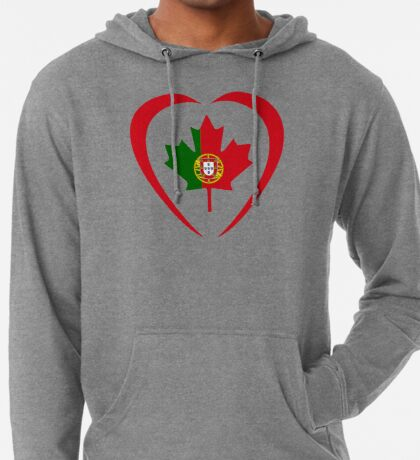 Portuguese Canadian Multinational Patriot Flag Series (Heart) Lightweight Hoodie