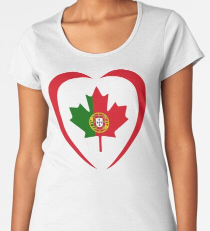 Portuguese Canadian Multinational Patriot Flag Series (Heart) Premium Scoop T-Shirt