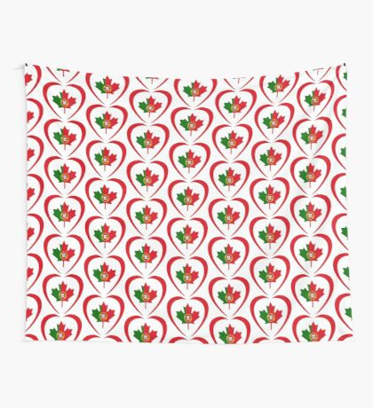 Portuguese Canadian Multinational Patriot Flag Series (Heart) Wall Tapestry