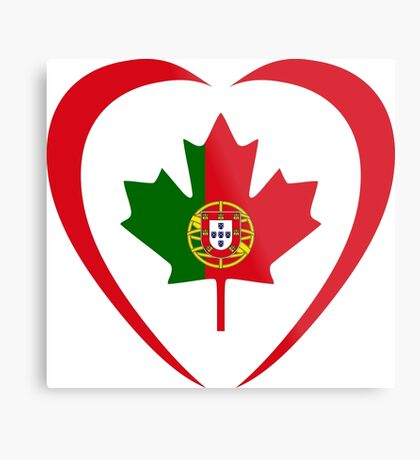 Portuguese Canadian Multinational Patriot Flag Series (Heart) Metal Print