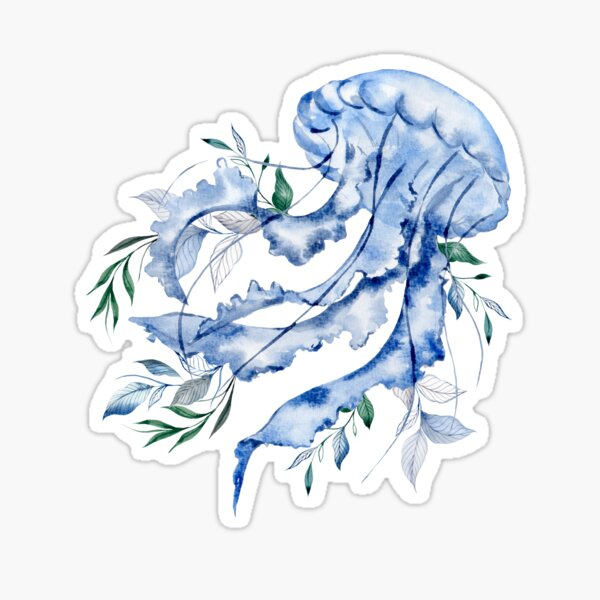 Blue Jellyfish With Leaves Sticker
