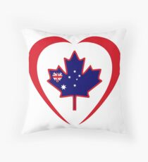 Australian Canadian Multinational Patriot Flag Series (Heart) Throw Pillow