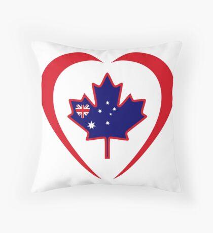 Australian Canadian Multinational Patriot Flag Series (Heart) Throw Pillow