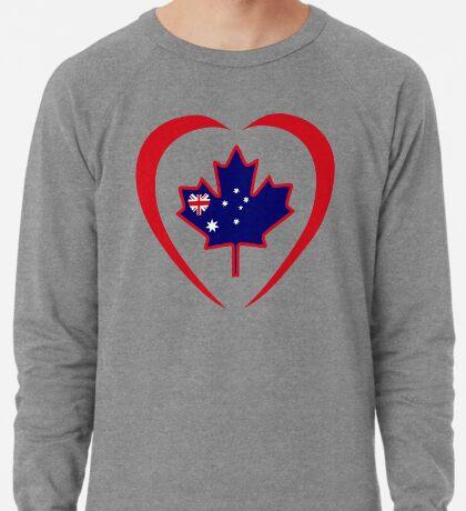 Australian Canadian Multinational Patriot Flag Series (Heart) Lightweight Sweatshirt
