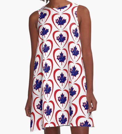 Australian Canadian Multinational Patriot Flag Series (Heart) A-Line Dress