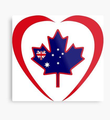 Australian Canadian Multinational Patriot Flag Series (Heart) Metal Print