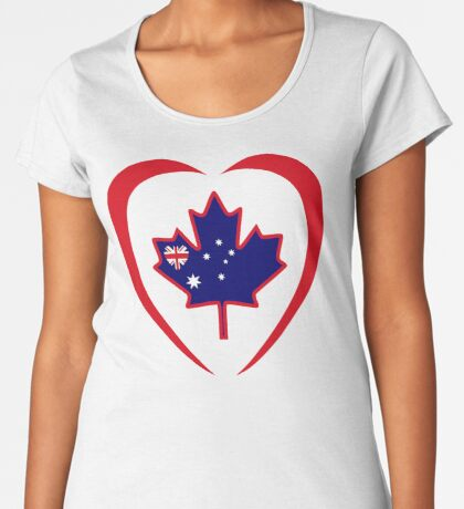 Australian Canadian Multinational Patriot Flag Series (Heart) Premium Scoop T-Shirt