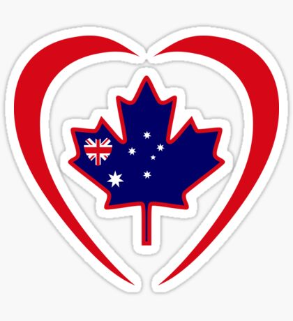 Australian Canadian Multinational Patriot Flag Series (Heart) Glossy Sticker