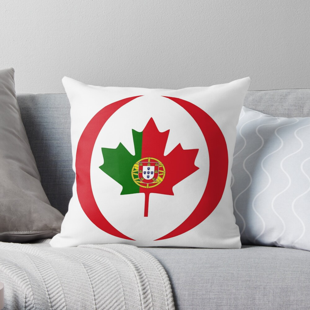 Portuguese Canadian Multinational Patriot Flag Series Throw Pillow