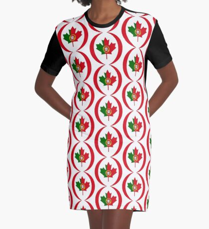 Portuguese Canadian Multinational Patriot Flag Series Graphic T-Shirt Dress