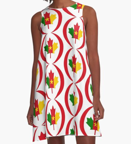 Cameroon Canadian Multinational Patriot Flag Series A-Line Dress