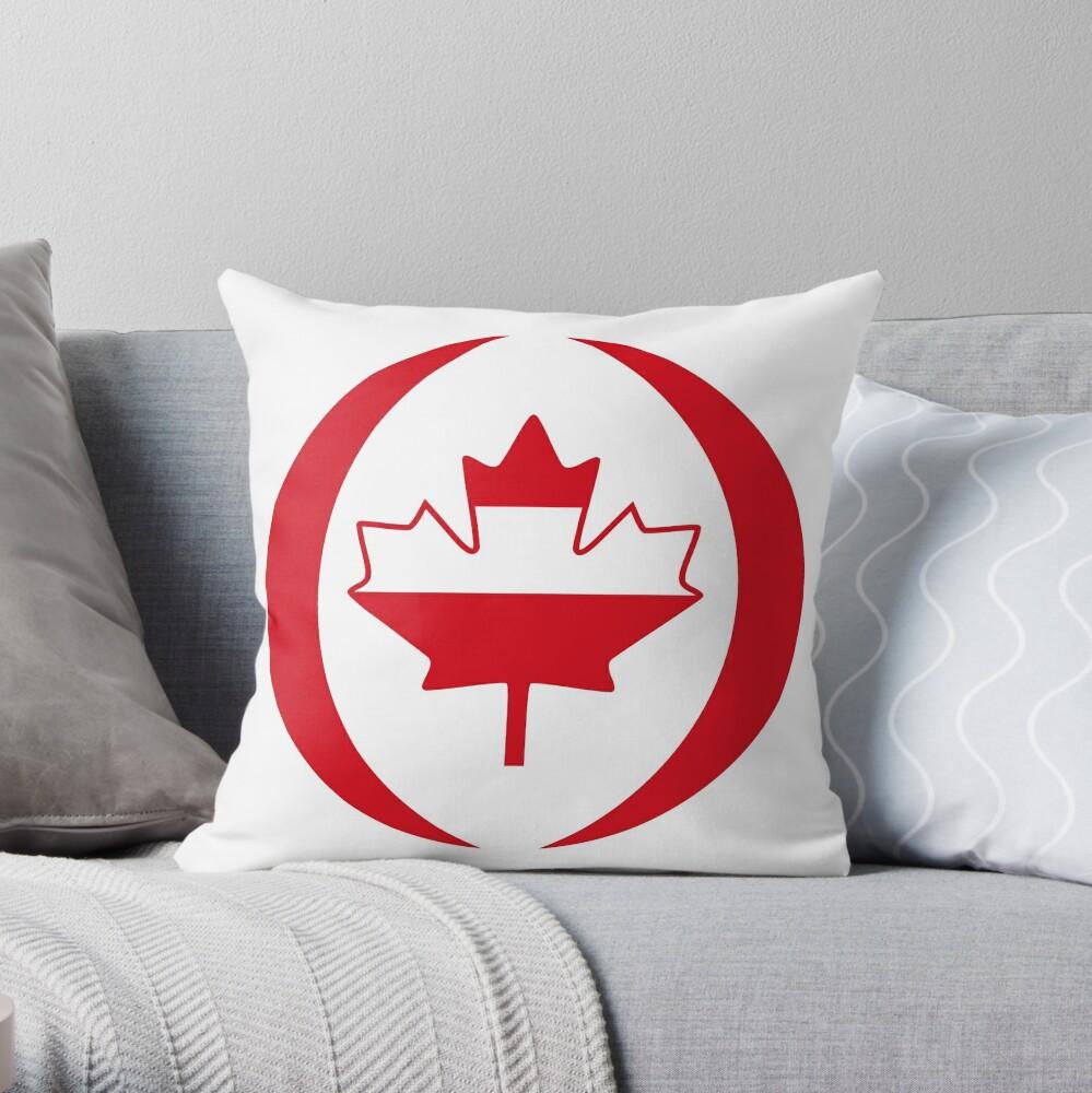 Austrian Canadian Multinational Patriot Flag Series Throw Pillow