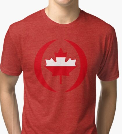 Austrian Canadian Multinational Patriot Flag Series Tri-blend T-Shirt