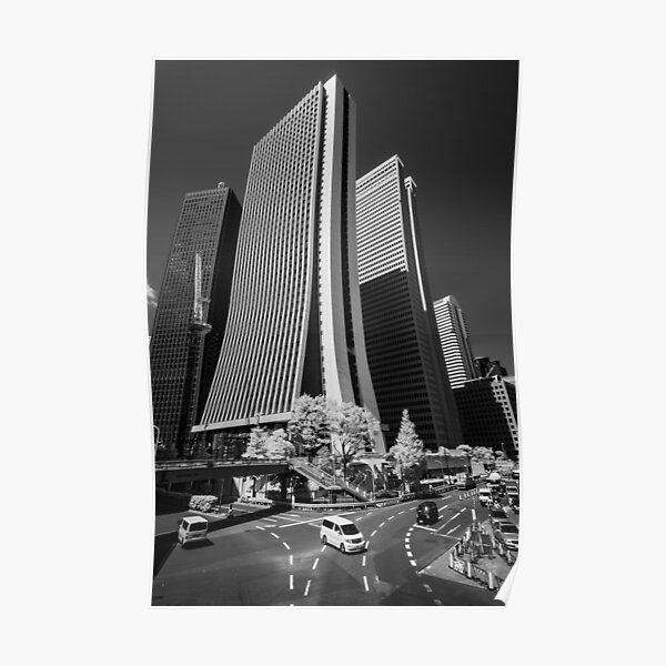Downtown Tokyo Skyscrapers in Infrared Poster