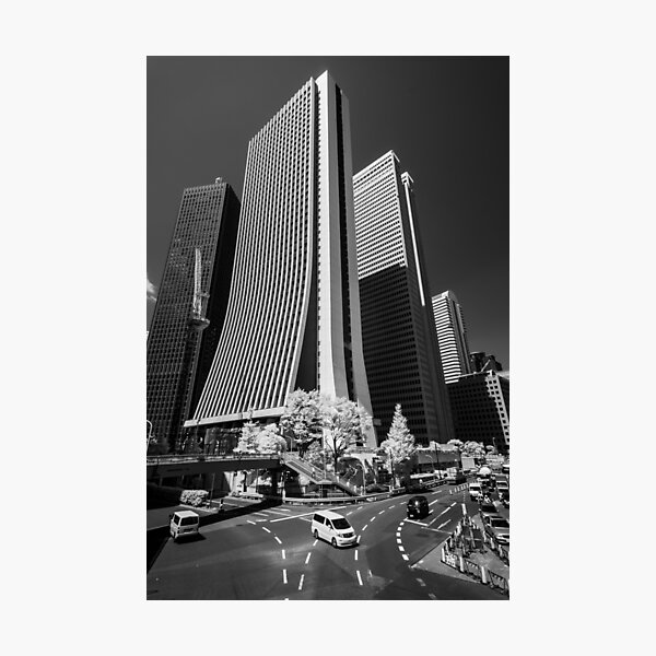 Downtown Tokyo Skyscrapers in Infrared Photographic Print