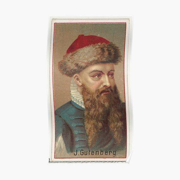 Vintage Johannes Gutenberg Illustration (1888) Poster