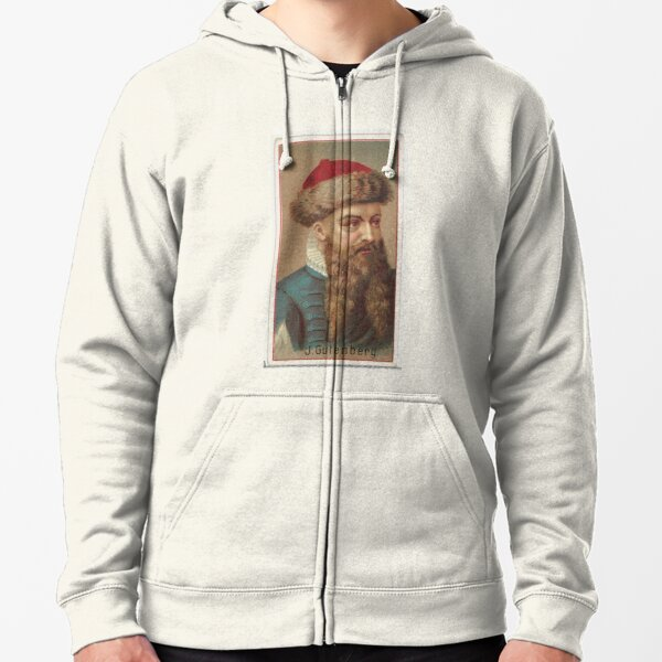 Vintage Johannes Gutenberg Illustration (1888) Zipped Hoodie