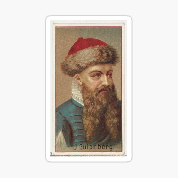 Vintage Johannes Gutenberg Illustration (1888) Sticker