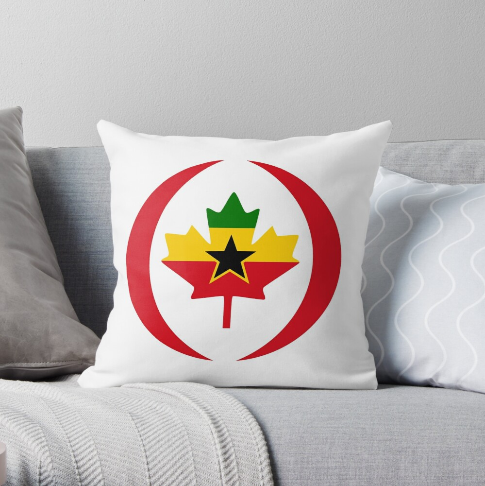 Ghanaian Canadian Multinational Patriot Flag Series Throw Pillow