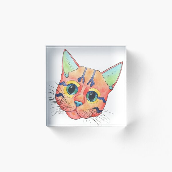 Cute and colorful kitten painting in a playful pop art style Acrylic Block