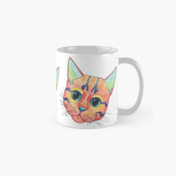 Cute and colorful kitten painting in a playful pop art style Classic Mug