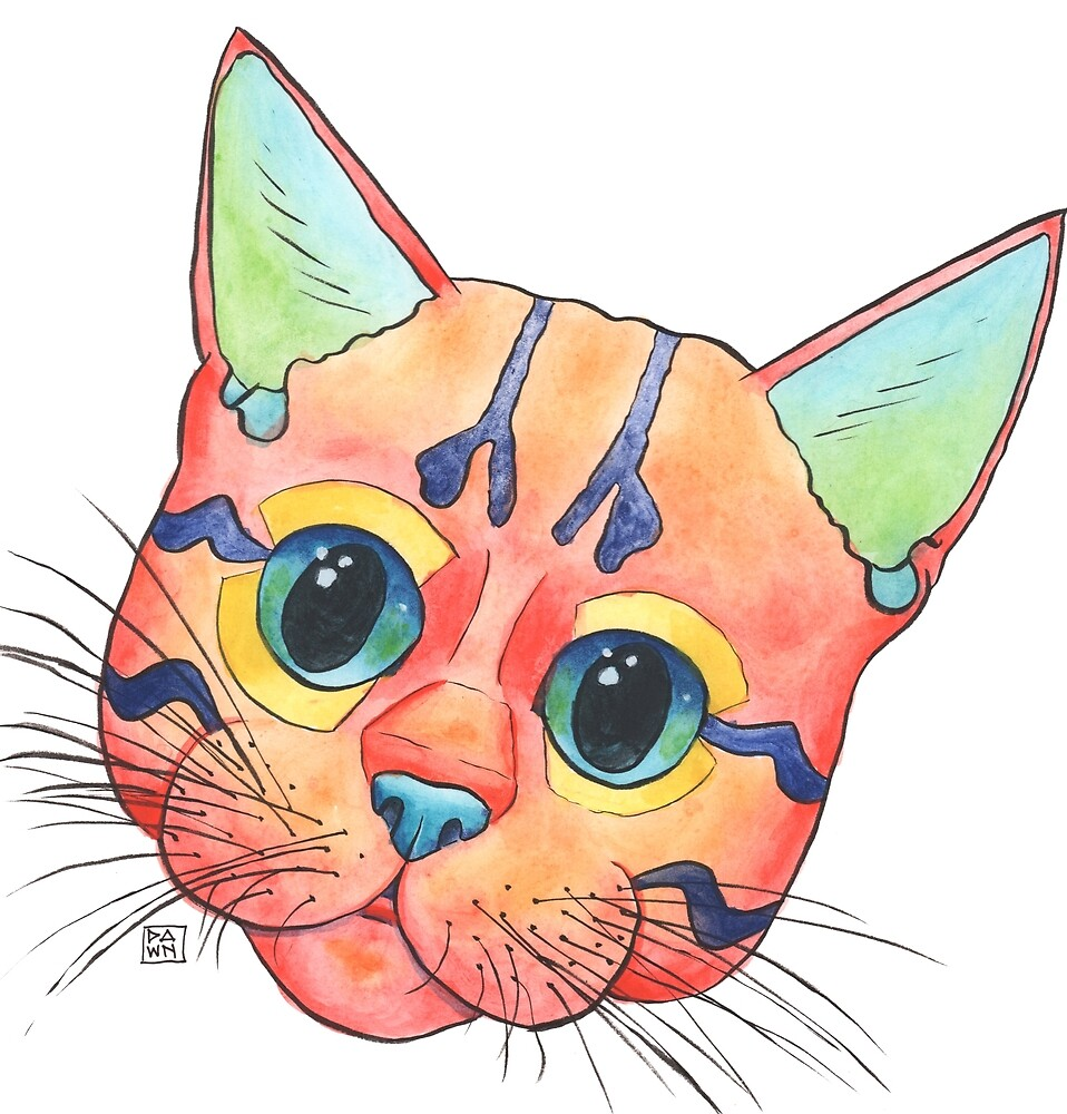 Cute and colorful kitten painting in a playful pop art style by Dawn Pedersen