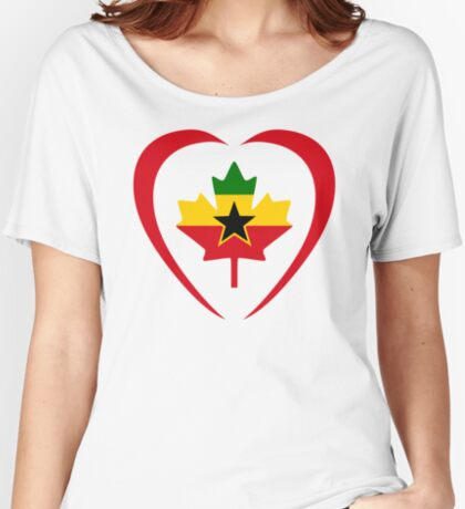 Ghanaian Canadian Multinational Patriot Flag Series (Heart) Relaxed Fit T-Shirt