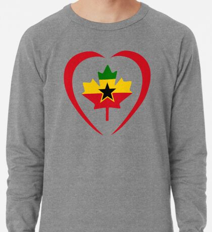 Ghanaian Canadian Multinational Patriot Flag Series (Heart) Lightweight Sweatshirt