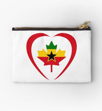 Ghanaian Canadian Multinational Patriot Flag Series (Heart) Zipper Pouch